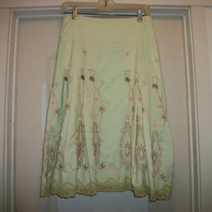 LOVELY MINT GREEN EMBROIDERED SKIRT BY ROMY, M